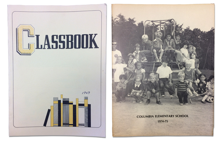 Columbia Elementary yearbook covers from 1969 and 1975. The 1969 cover is a plain image of books on a shelf with the word classbook printed in bold. The 1975 yearbook cover is a black and white photograph of students sitting on the playground's jungle gym equipment.